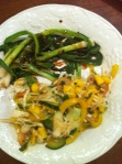 asian salad, grilled scallions with soy-honey-mustard glaze