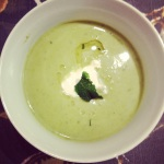 English pea soup with lemon, mint and basil