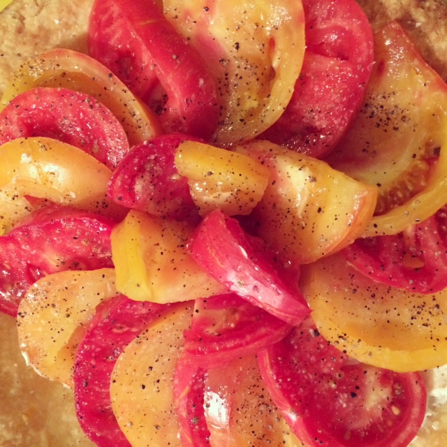 heirloom tomato tart with garlicky whipped feta